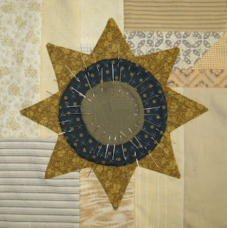 appliqued star with circles on scrappy backgrounds
