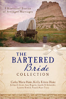 cover of Bartered Bride Collection: 9 Historical Stories of Arranged Marriages shows a lone covered wagon in front of a rocky butte