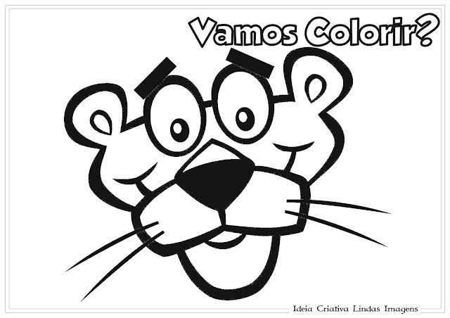 A pantera cor de rosa desenho para colorir
