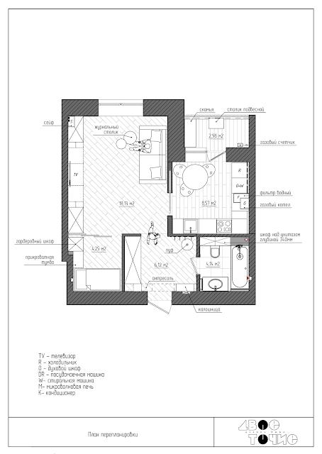 Перепланировка 1 комнатной квартиры ЖК Чайка