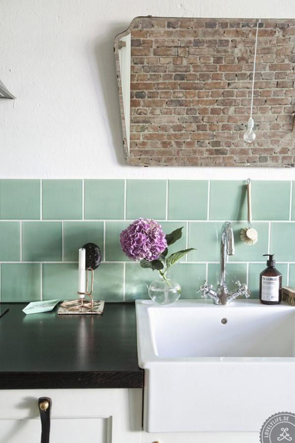 Mint green tiles