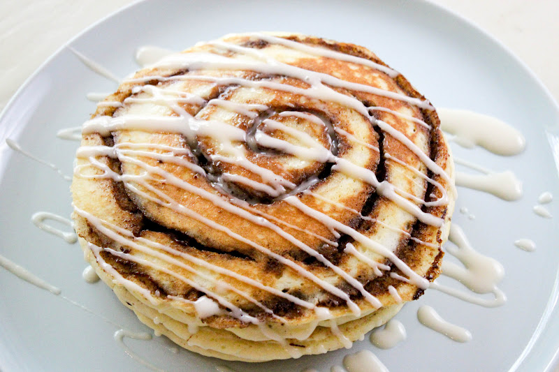 From Dahlias to Doxies: Cinnamon Roll Pancakes