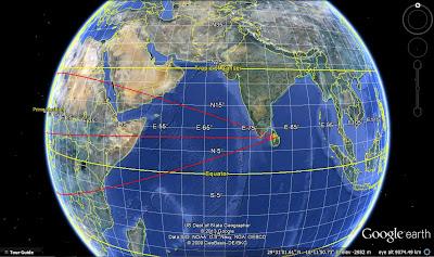 направления осей симметрии культурных треугольников Шри-Ланки на Гугл Земля
