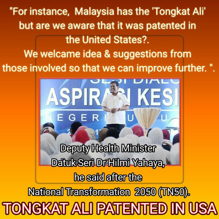 Perfect Supplement TONGKAT ALI patented in USA.