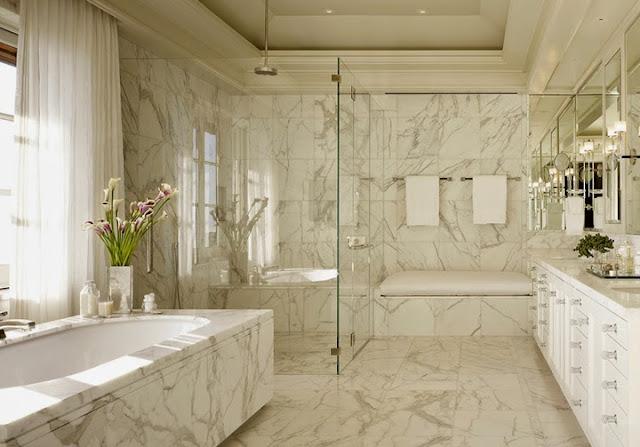 Imagenes De Baños Revestidos Con Porcelanato:Mármore Carrara – tendência na moda e objeto desejo na decoração