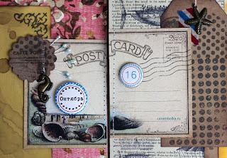 """Скрап-альбом для свадебных пожеланий. Набор с рассадочными карточками. Материалы: магазин Скрапбукшоп. Воздушные шары, морская звезда, бумажный скотч с принтом, фигурный компостер края, фишки для проекта """"365"""", тег."""