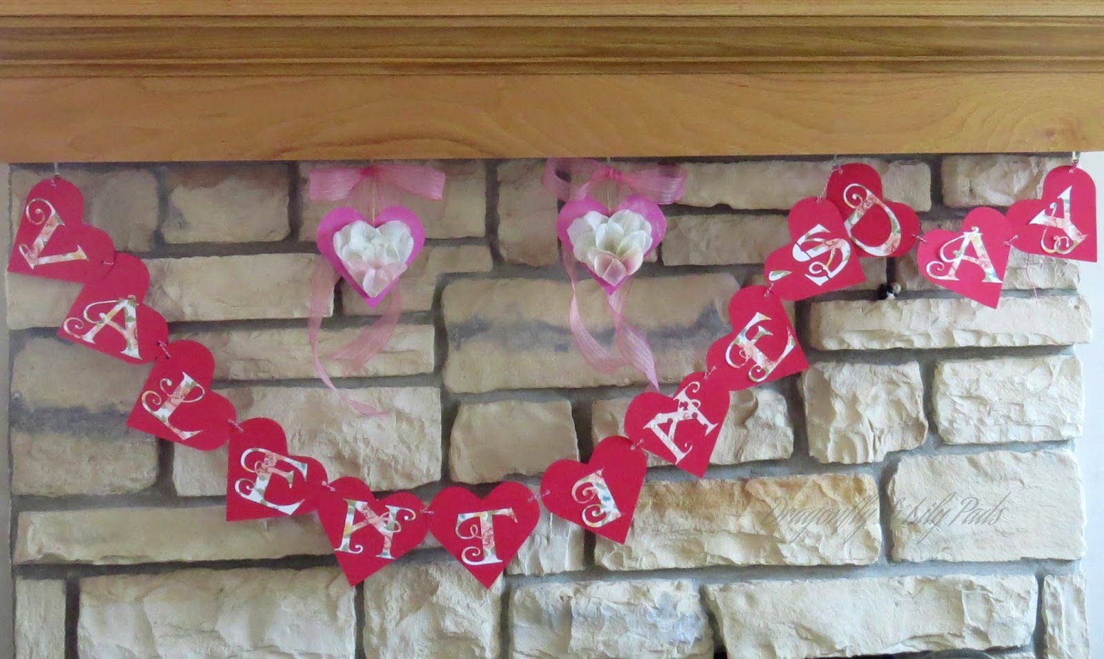 Decoupaged Hearts Decor, Valentine's Day Banner, Fireplace, Hearts, Decor