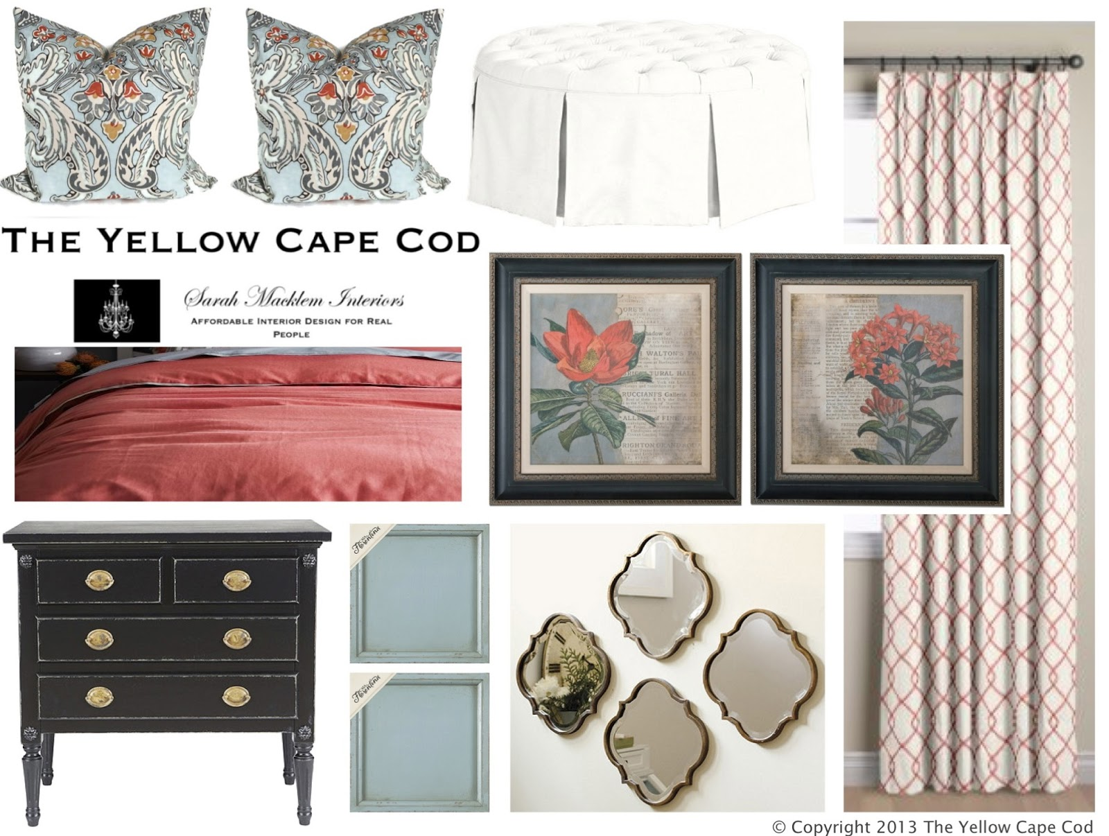 The yellow cape cod soft blue and coral master bedroom for Cape cod bedroom designs