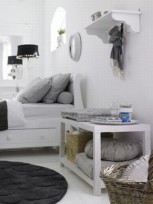 cosy and friendly grey and white bedroom