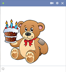 Birthday cake teddy emoticon