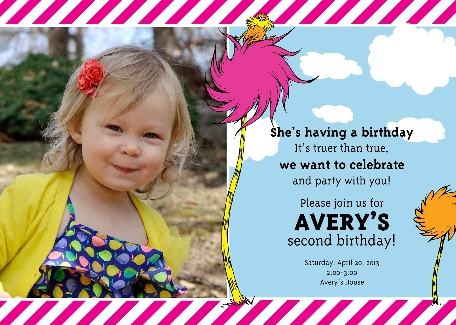 Ashleys Green Life Averys 2nd Birthdaya Lorax Party – Two Year Old Birthday Party Invitations