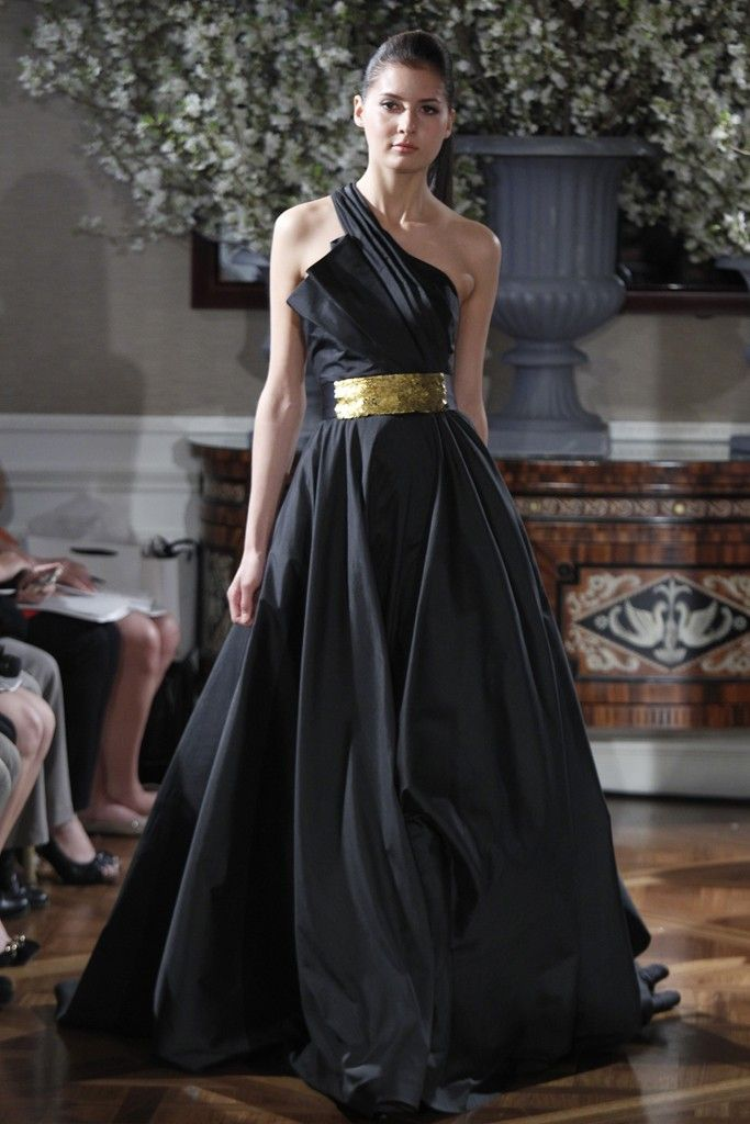 Romona keveza black wedding gown gold sash for Pictures of black wedding dresses