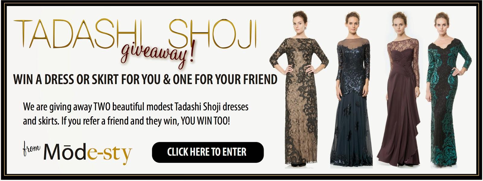 win long sleeve evening gown modest formal wear designer dress by Tadashi Shoji hijab tznius fashion style giveaway