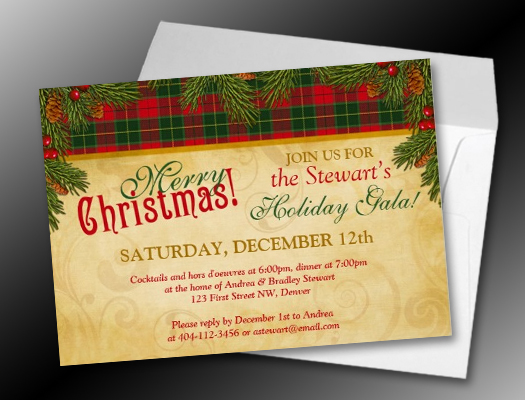 Traditional Christmas Tartan Plaid Holiday Party Invitations