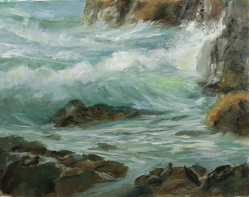 brush with the sea on the easel shoreline delights 11x14 oil on