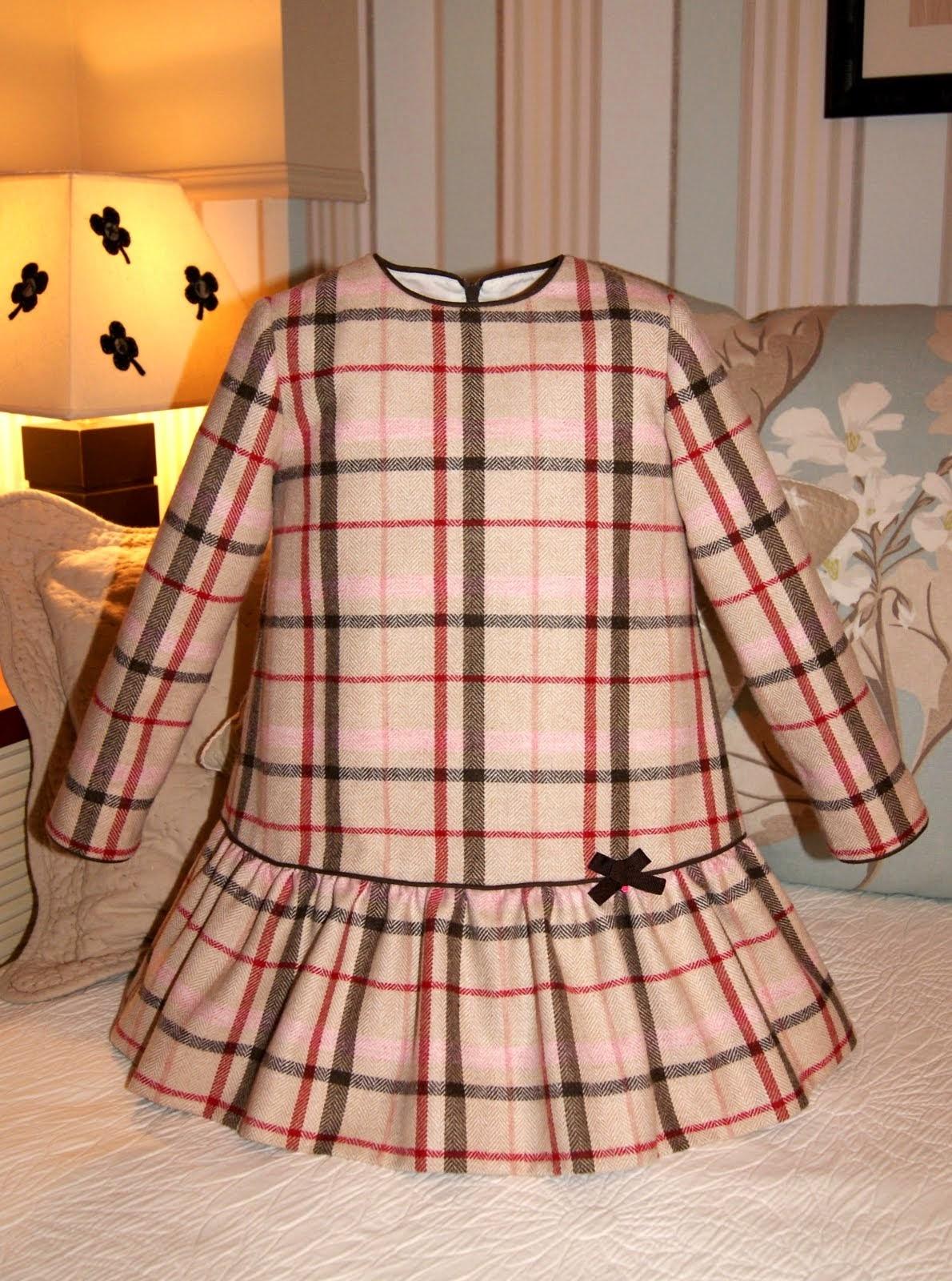 Vestido cuadros escoceses beige
