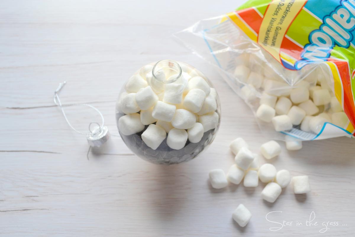 diy boule de noël chocolat chaud marshmallow