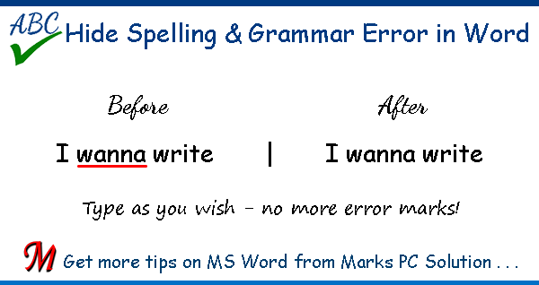 Turn off Spelling & Grammar Errors in MS Word