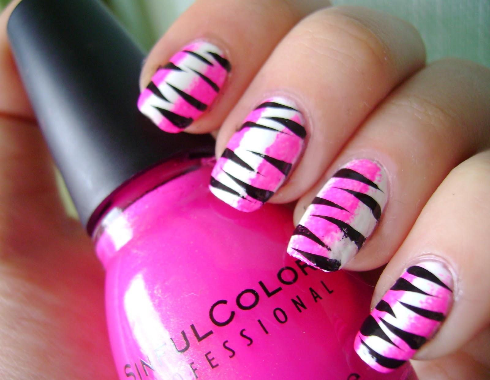 Konad addict go pink wednesday pink zebra nails