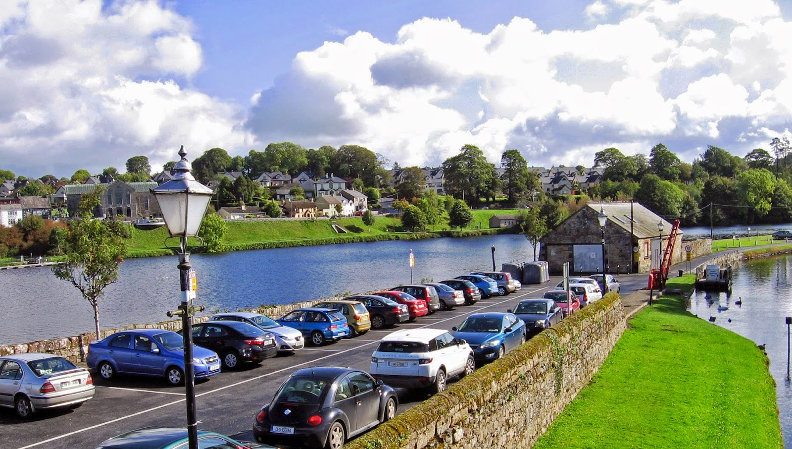 View of village of Ballina from across the River Shannon in County Clare