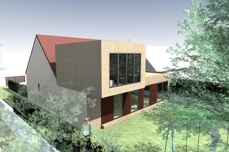 esquisse extension etrechy architecte maison bois paris alsace. Black Bedroom Furniture Sets. Home Design Ideas