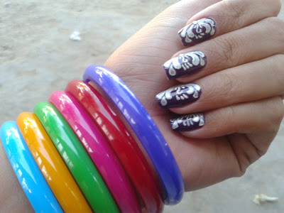 beautiful one stroke nails design