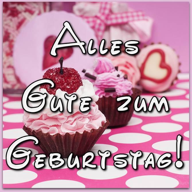 Bild Mit Süßen Rosa Cupcakes: Alles Gute Zum Geburtstag!