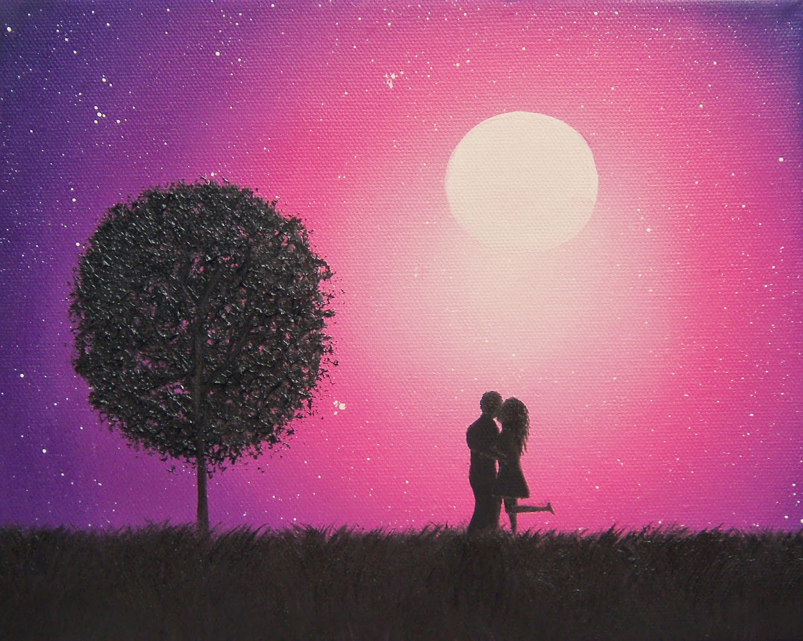 Couple Silhouette Sunset Painting Couple Silhouette Art Sunset