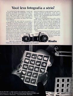 propaganda câmeras Minolta - 1974.  anos 70.  1974. década de 70. os anos 70; propaganda na década de 70; Brazil in the 70s, história anos 70; Oswaldo Hernandez;