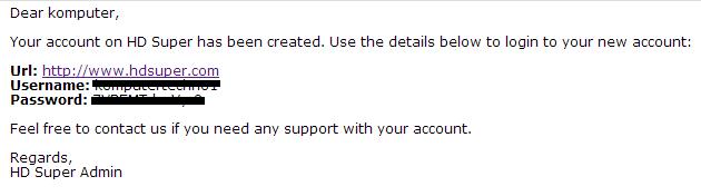 Username Password HDSUPER
