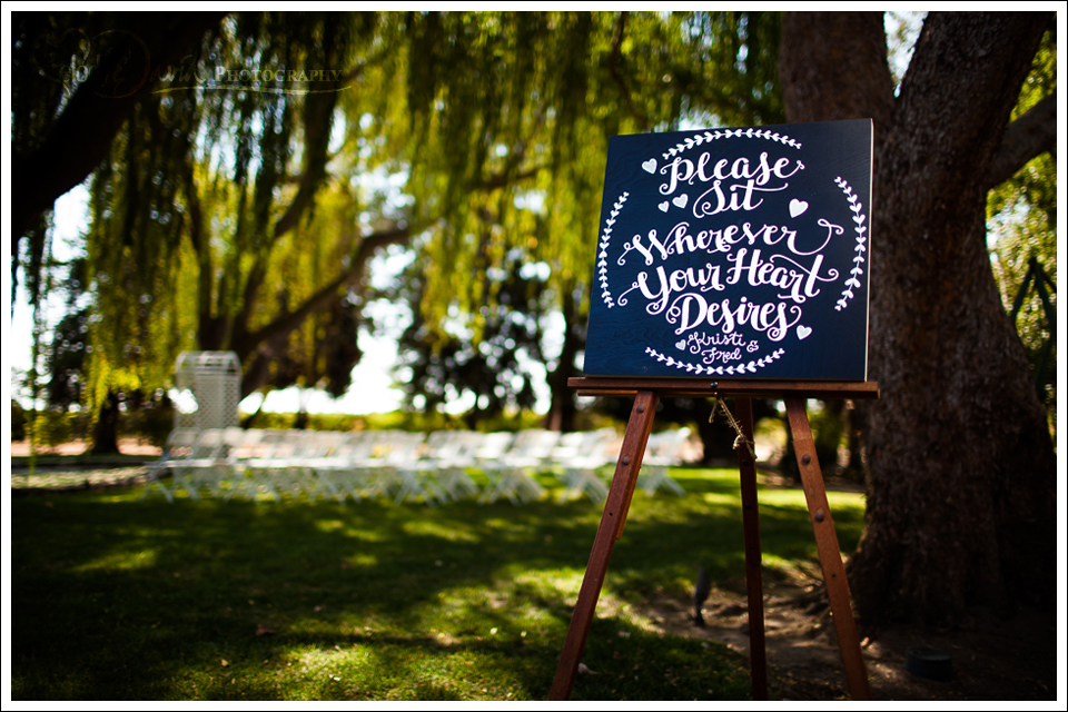 sign on easel for wedding entrance