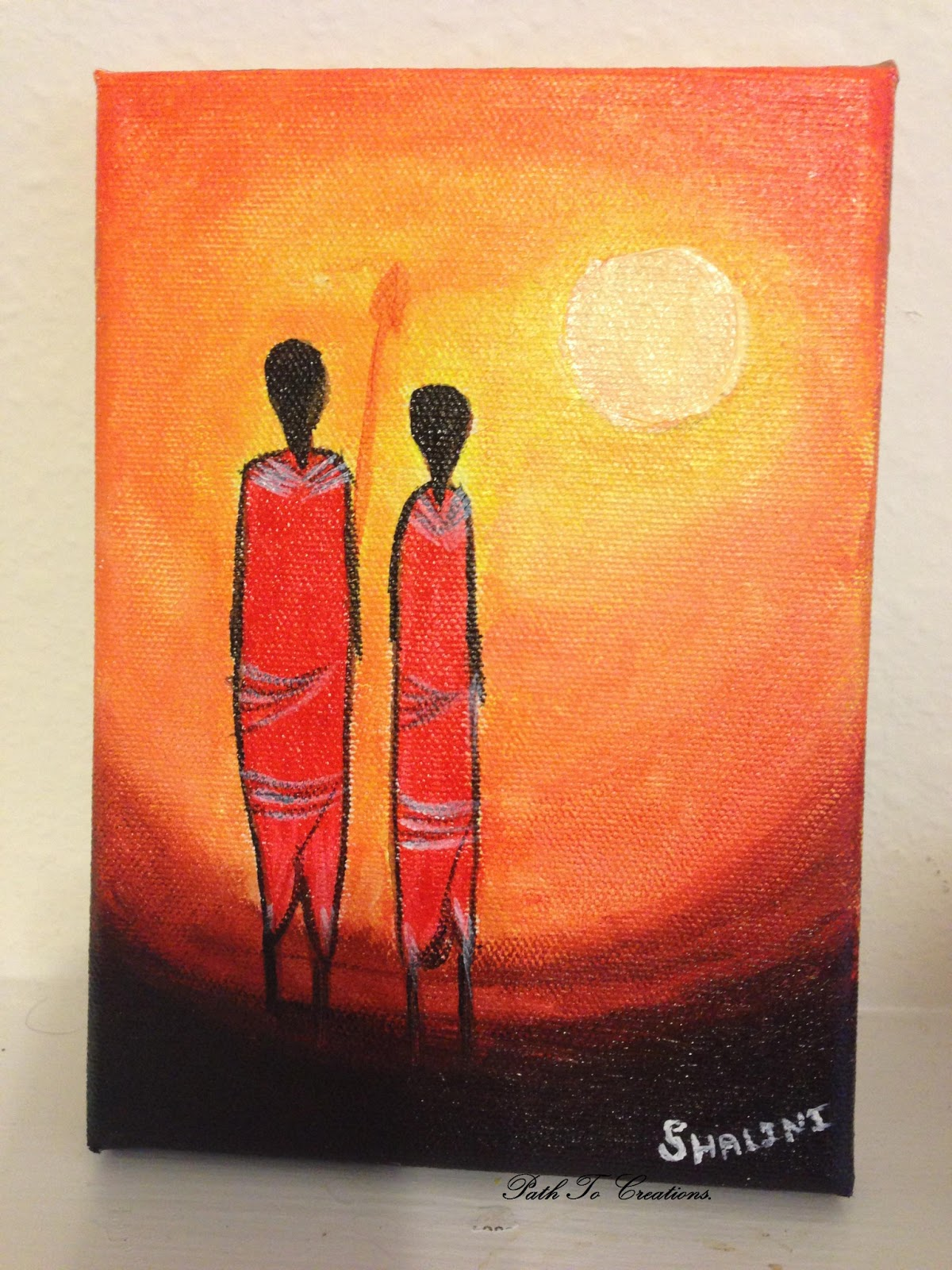 Acrylic african abstract painting sunset for Easy to do abstract paintings