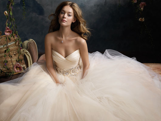 Ivory organza plume trumpet bridal gown with circular skirt and chapel train