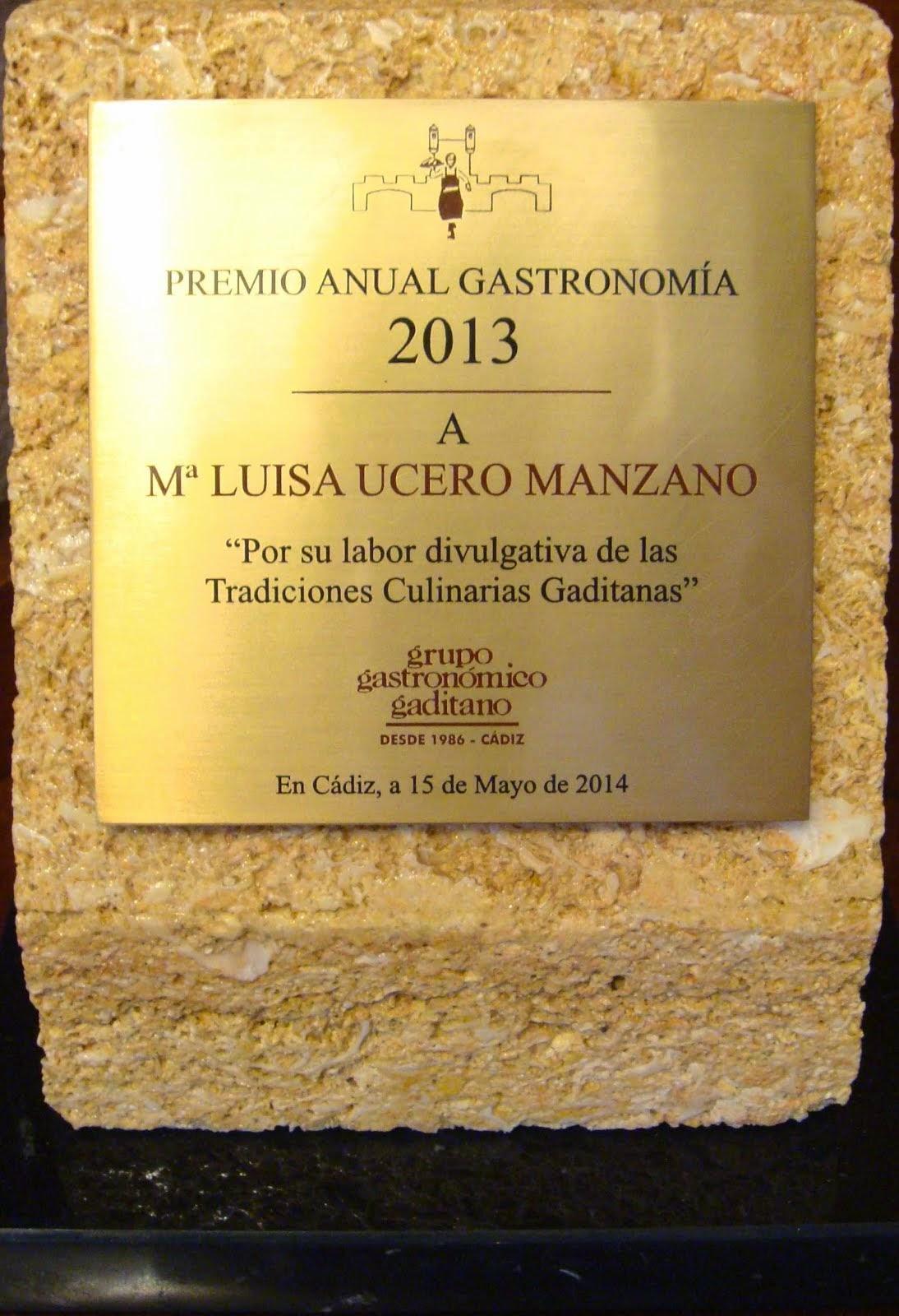 Premio 27 Edición Grupo Gastronómico Gaditano. Entrega 16 de mayo de 2014