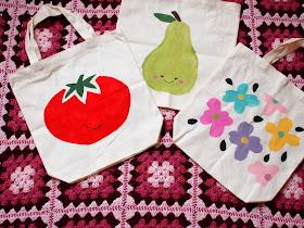freezer paper stenciled canvas bags