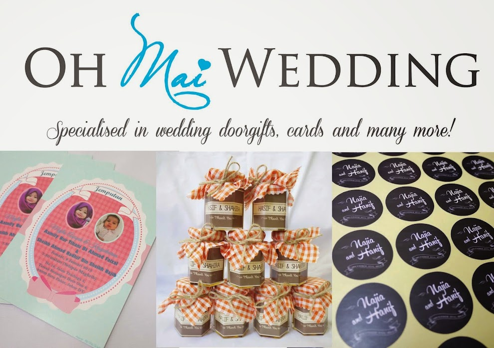 Oh Mai Wedding - Door gift Sticker Kahwin Bunting Button Badge