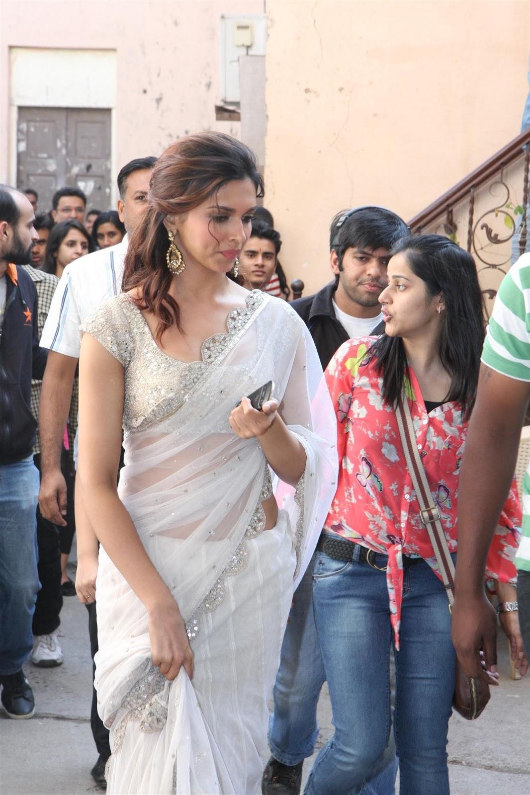 Gorgeous deepika in a white designer saree