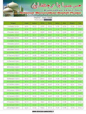 Jadwal Imsakiyah Mojokerto Ramadhan 1436 H