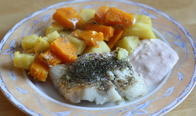 ryba z dynią i ziemniakami
