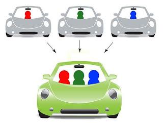 Ilustracion que representa el compartir coche