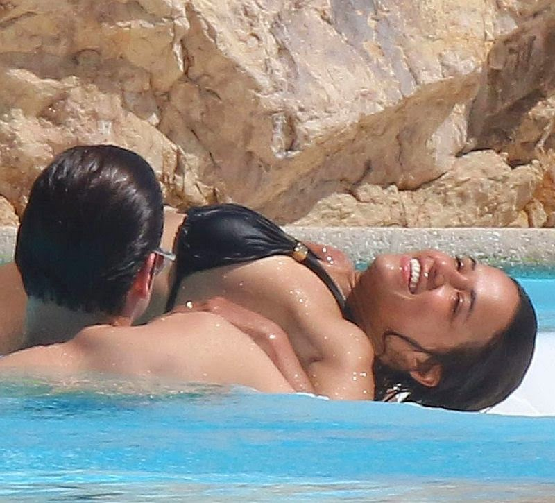 The 35-year-old seemed to having a whale of a time while cooling off at Hotel Du Cap Eden Roc, France on Friday, May 23, 2014 with Stephanie Seymour son, Peter Brandt. Jr and Mohammed Al Turki.