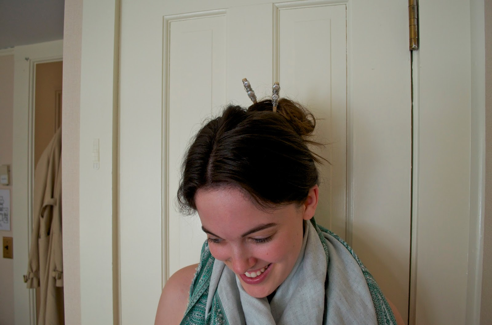 Updo with hair chopsticks
