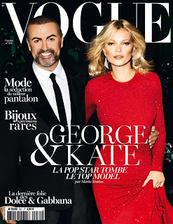 Kate Moss and George Michael on the cover of Vogue magazine Oct 2012