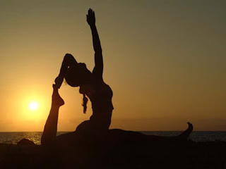 Yoga pose women, sunset, Pacific Ocean, Wits Inn