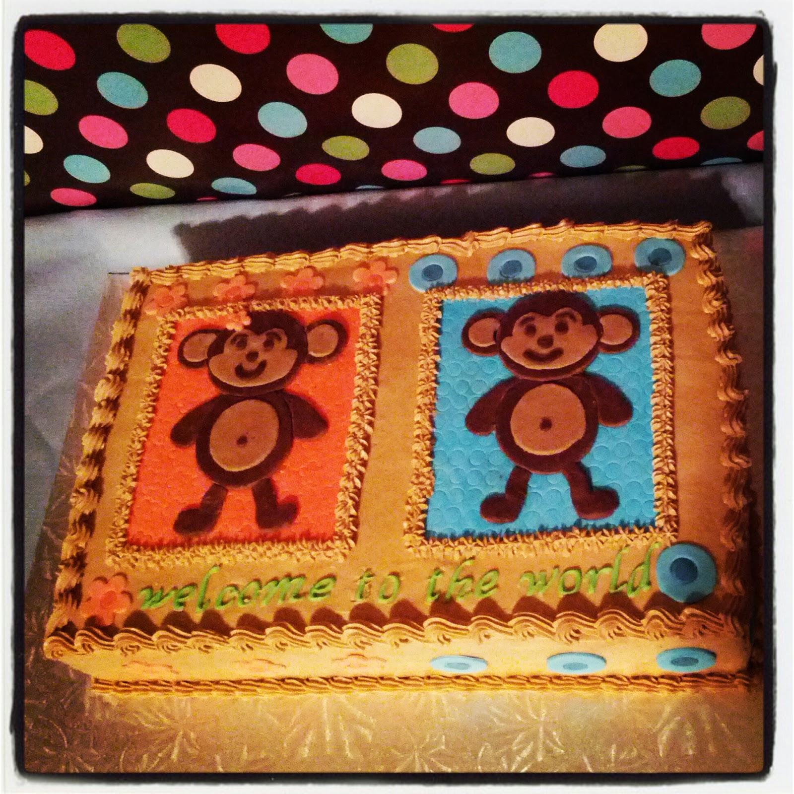 Second generation cake design boy girl monkey baby shower cake - Monkey baby shower cakes for boys ...