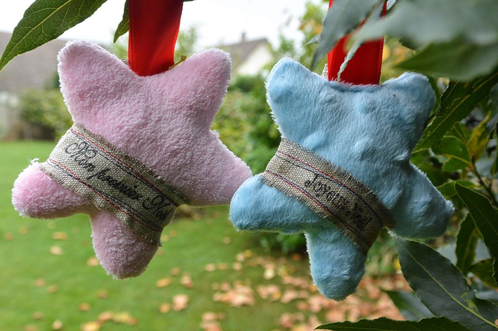 boule de Noël mon premier noël forme étoile en tissu tout doux. rose ou bleu