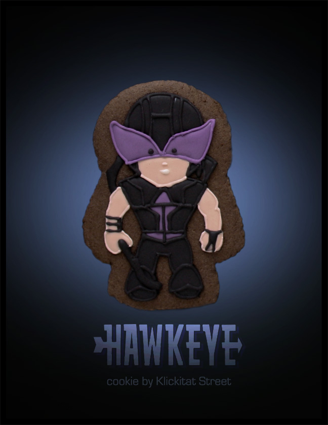 decorated sugar cookie of Marvel Avengers movie character Hawkeye