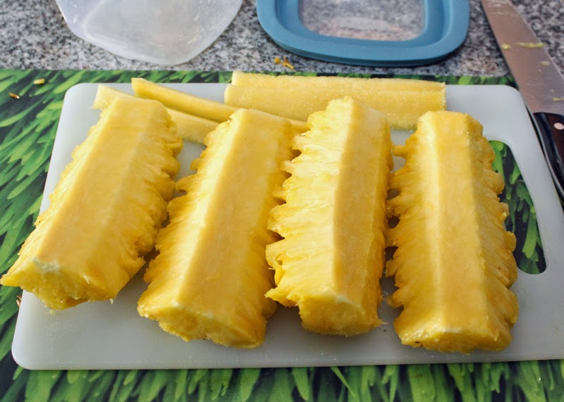 Pineapple - slice off the core.