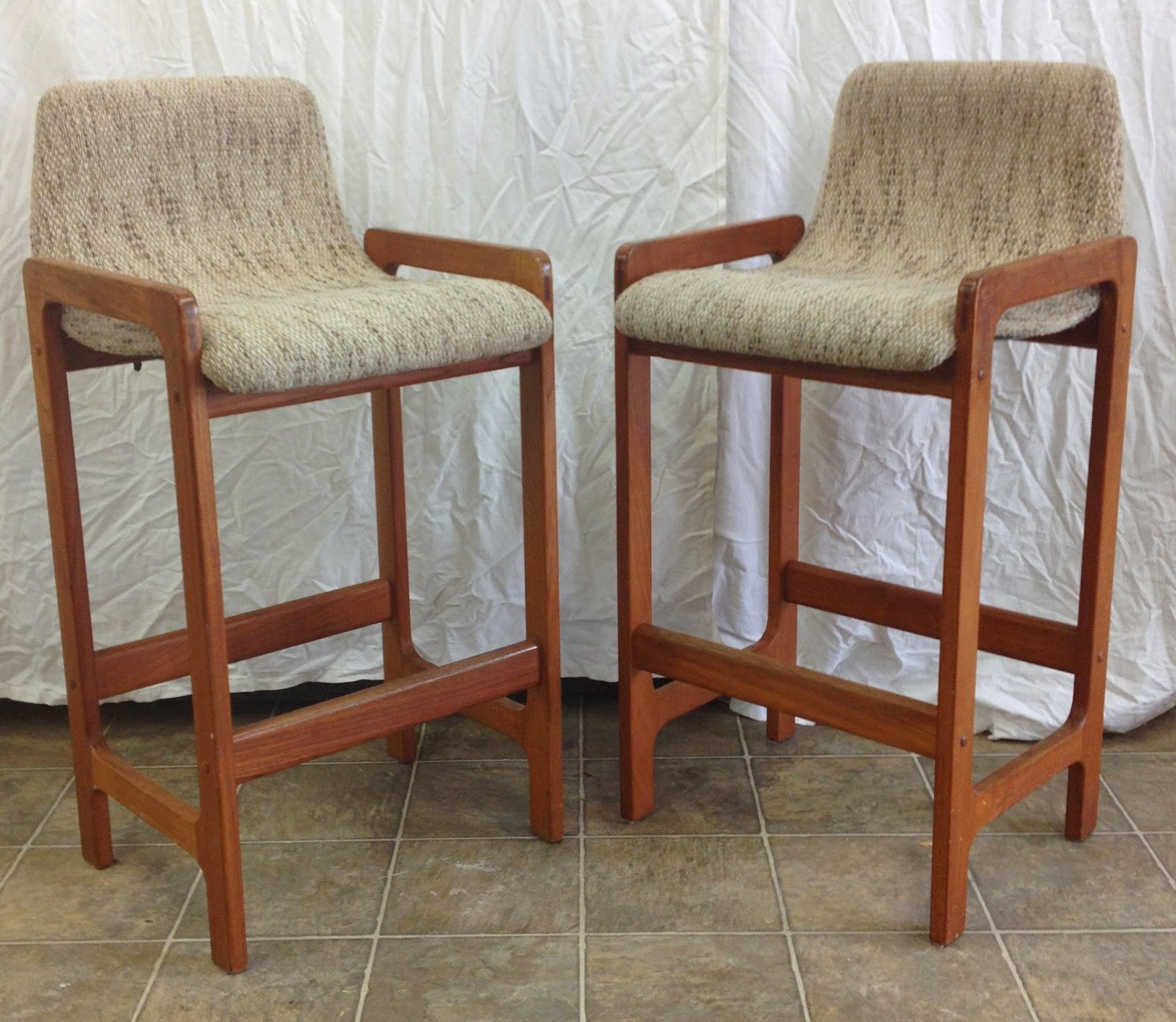 NOW SOLD Pair Of Teak Bar Stools Made By D Scan Unique Look