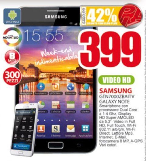 Prezzo vantaggioso sul Galaxy Note Eldo Megastore